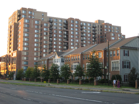 Apartment Building And Townhomes Along Huntington Avenue.