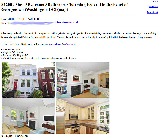 Craigslist Dc Apartments: This Is A Craigslist Rental Scam