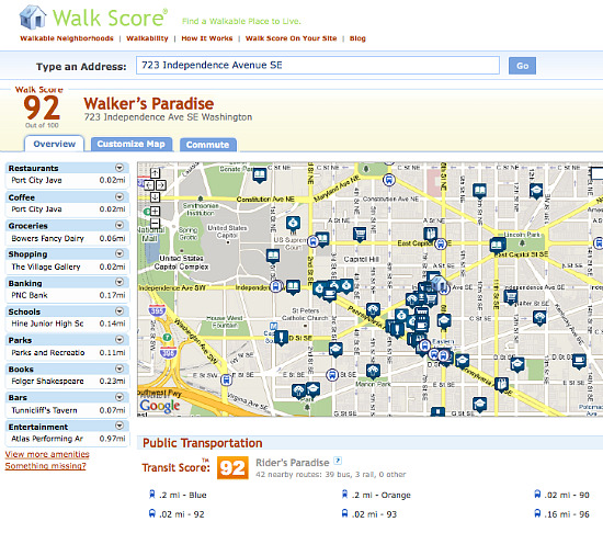 Walk Score Introduces Transit Score: Figure 1