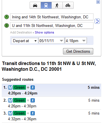 Google Maps Now Shows Directions for Metro and Metrobus: Figure 1