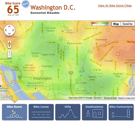 Walk Score Launches Bike Score: Figure 2