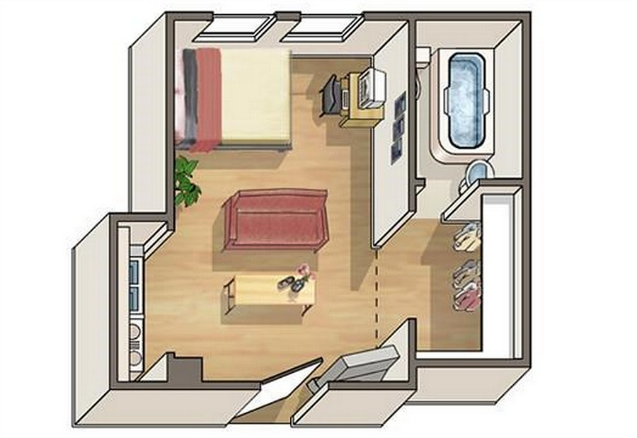 Living together in 310 square feet for 300 sq ft apartment floor plan