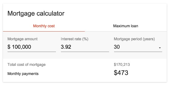 Google Launches In-Browser Mortgage Calculator: Figure 1