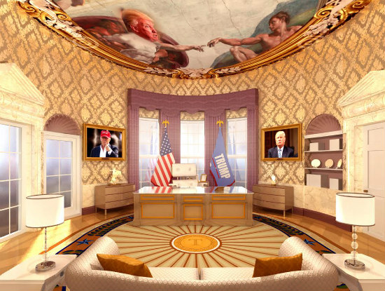 A Rendering Of Donald Trump S Re Imagined Oval Office