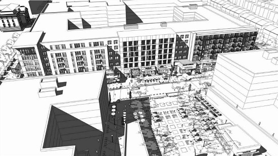 300 Apartments Atop A Grocery Store: The Preliminary Plans for Walter Reed's Town Center: Figure 1