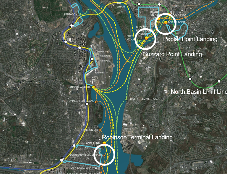 What a Large Water Transportation Network Would Look Like in the DC Area: Figure 2